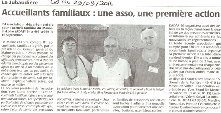 ADAF49, Courrier de l'Ouest, 29 septembre 2014